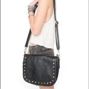 Studded Black Leather Crossbody Bag